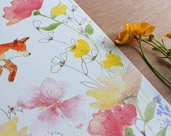 JOY - In the Meadow Series - Fox Watercolor Print