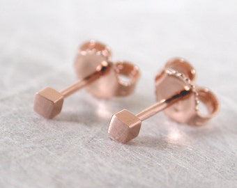2mm Brushed Rose Gold Square Stud Earrings 14k by SARANTOS