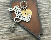 NEVADA | Rustic 2016 Christmas Ornament | Las Vegas Dice, Cowboy Boot or Hat Charms, Handstamped Brass Tag