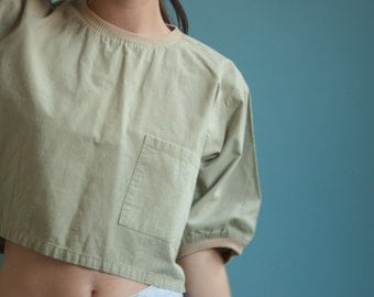 khaki wide crop top tee / cotton cropped t shirt / simple short top / s / m / 1812t / B18