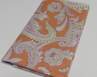 SAMPLE SALE - Checkbook Cover - Peach Lavender Green Paisley - Amy Butler Fabric