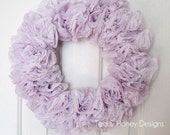 "Lilac Paper Wreath Rustic Spring Decor Round 17"" Easter"