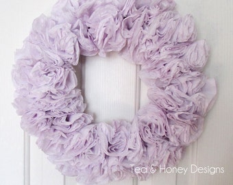 "Lilac Wreath, Coffee Filter Wreath, Rustic, Spring Decor  Round 17"", Nursery, Wedding, Craft Room, Party Decor"