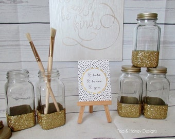 Gold Glitter Dipped Glass Bottle, Home Decor, Organization, Altered, Upcycled, Recycled