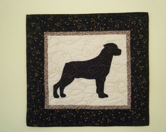 SALE--- Rottweiler - Quilted Mini Dog Wall Hanging 16 x 15