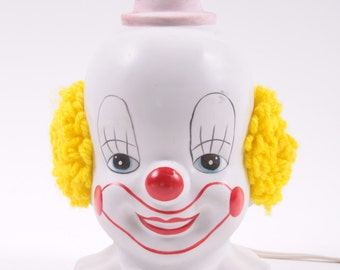 Vintage 1960s Creepy Clown Lamp Ceramic Working Yarn Hair