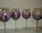 Wine glasses hand painted Eggplant and Amethyst