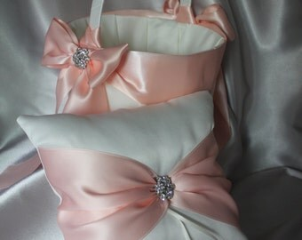 White/Ivory Flower Girl Basket and Ring Bearer Pillow-Lace Flowers in Blush/Peach-Custom Ribbon  Colors-Age 8+