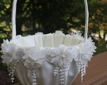 White or Ivory Flower Girl Basket with Delicate Chiffon Flowers and Dangling Lace Trim-More Colors Available-Flower Girl Age 4-7