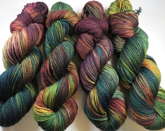 Hand Dyed Superwash Merino DK Yarn -- Autumn Embers (Ex-Lg 120gram/282yds skein)