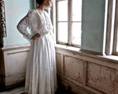 1890s Wedding Dress Skirt with Shirtwaist Nautical XS