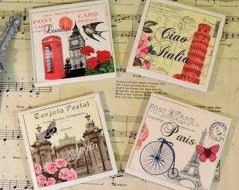Vintage European Postcard Inspired Ceramic Tile Coaster Set, Paris, Spain, London and Italy, World Traveler Gift