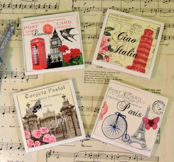 Vintage European Postcard Inspired Ceramic Tile Coaster Set, Paris ...