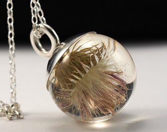 Unique Resin Pendant with Plumeless Thistle in Sterlin Silver, Floral resin Necklace, Resin Jewelry