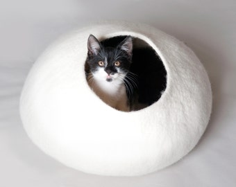Cat Bed / Cave / House / Vessel - Hand Felted Wool - White Stone - Crisp Contemporary Design