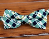 Boys Bow Tie - blue green white plaid diamond tip cotton pre-tied bow tie, kids bow tie, baby boy bow tie, ring bearer bow tie, wedding tie