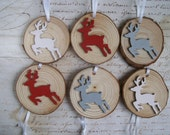 Red white & grey reindeer natural wood slice rustic Christmas tree ornaments decorations set of 6