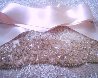 NEW Rhinestone Silk Sash, Heavily Embellished Silk sash, Crystal sash, Rhinestone Belt, Flower Girl Belt, Sashes, flower girl, blush, ivory