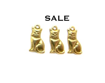Tiny Raw Brass Kitty Charms - Mirrored (30X) (M530-A) SALE 25% off