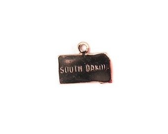 Engraved Tiny ROSE Gold Plated on Raw Brass South Dakota State Charms (2X) (A440-D)