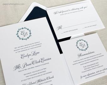 Lace Wreath Wedding Invitation, Monogram Wreath Wedding Invitation - Sample Set
