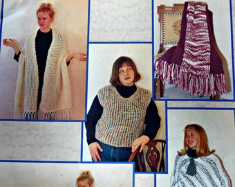 Knitting Patterns Quick 'N Easy Patterns on the Knit-A-Round Vest Sweater Hat Scarf Poncho Paper Original NOT a PDF