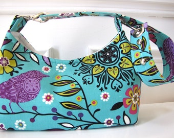 Cotton Handbag/Shoulderbag with Bird and Flower Motif