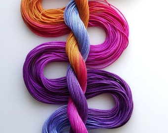 "Size 10 ""Brilliant Sunset"" hand dyed thread tatting crochet cotton"