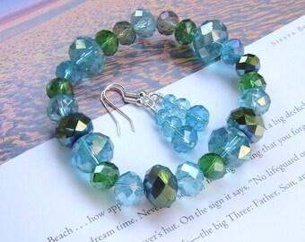 Aqua Blue Green Chunky Glass Bead Bracelet & Earring Set