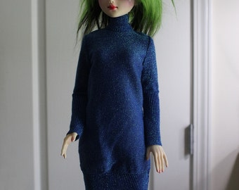 Blue Aurora Sparkle Sweater Dress for 60cm SD BJD 1/3 Dolls