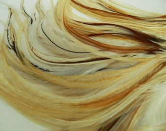 """4 Natural Light Ginger Variant, THICK TAPERED Hair Feather Extensions, 9"""" to 11"""" LONG"""