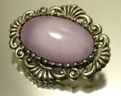Vintage/ estate 1950s / 1960s, silver tone and purple / mauve marbled glass costume brooch / pin - jewelry jewellery UK seller
