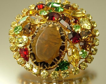 Huge vintage, estate 1950s/ 60s glam, gold tone and rhinestone/ paste, costume brooch / pin - jewelry, jewellery yellow red brown
