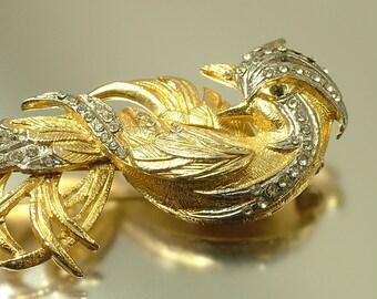 Vintage / estate 1960s large gold tone tone, diamante rhinestone paste, bird costume brooch pin - jewelry / jewellery