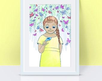 Girl with Butterflies Illustration Print - Stratford-on-Avon inspired