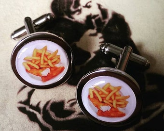 Supper time....  Fish and Chips Cufflinks