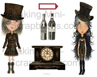 Steampunk Dolls and Images Collage Sheet
