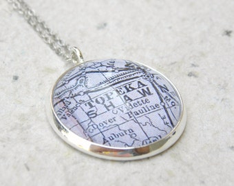 Topeka Map Necklace - Pick your map from 25 choices - Topeka, Kansas Necklace - Custom Map Jewelry - Bridal Party Gifts and Jewelry