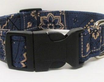 Blue & Beige Cowgirl/Cowboy Bandana Print Handmade Dog Collar