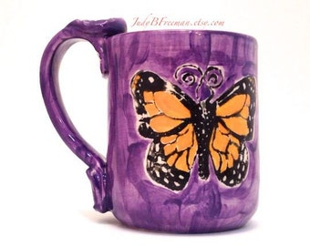 Butterfly Ceramic Mug Monarchs on Amethyst 12 Ounces Made to Order MG0040
