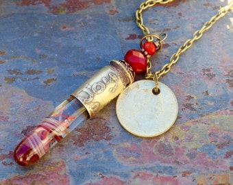 Glass Bullet Casing Necklace Boro Lampwork Brass Pendant Jewelry Red - Joy Peace Love