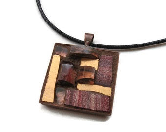 Maroon and Copper Mosaic Pendant