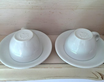 2 ACF barista quality white demitasse cups and saucers 2 oz