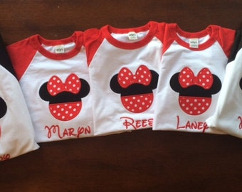 Personalized Monogrammed Mouse Tee - Set of 4 -