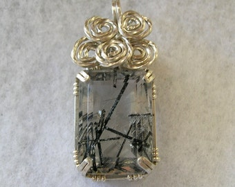 Tourmalated Quartz Faceted Rectangle Sterling Silver Wirewrapped Pendant