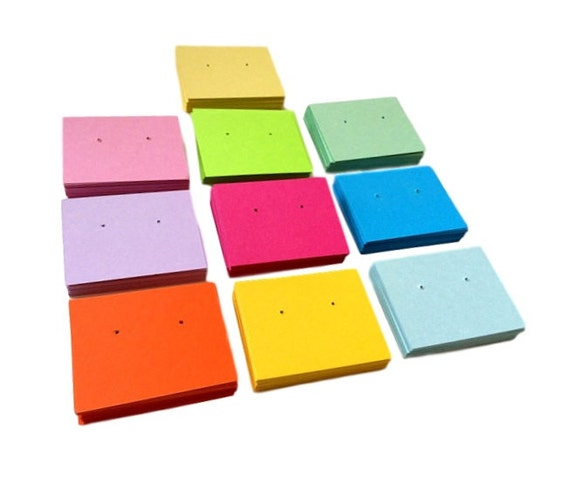 Earring cards in a variety of colors, post holed, 2 x 2.5 inch cards, set of 30
