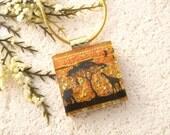 Elephant Giraffe Jungle, Petite Dichroic Glass Jewelry, Dichroic Pendant, Dichroic Fused Glass Jewelry, Safari Necklace 121715p100