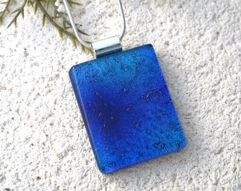 Blue & Purple Necklace, Blue Necklace, Dichroic Necklace, Fused Glass Jewelry, Dichroic Jewelry, Silver Necklace Included, 07082016p100