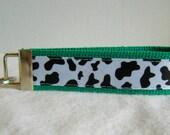 Cow Print 0n GREEN Keychain - Animal Print Key Fob - Cow Key Chain - Cow Key Ring - Wristlet - GREEN
