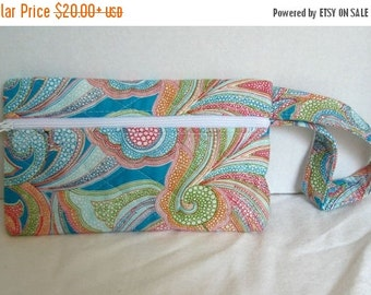 40% Off Quilted Paisley Wristlet - Bright Paisley Small Purse - Wrist Style Purse - Wallet with Strap - Cellphone Purse - Turquoise Lime Ora